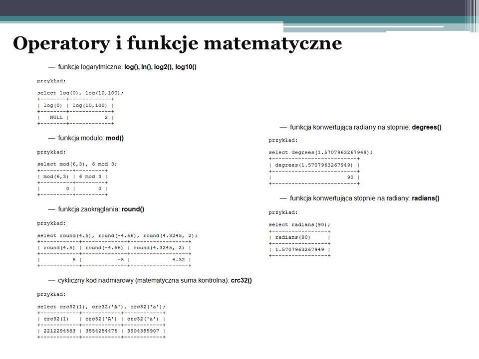 Operatory i funkcje matematyczne