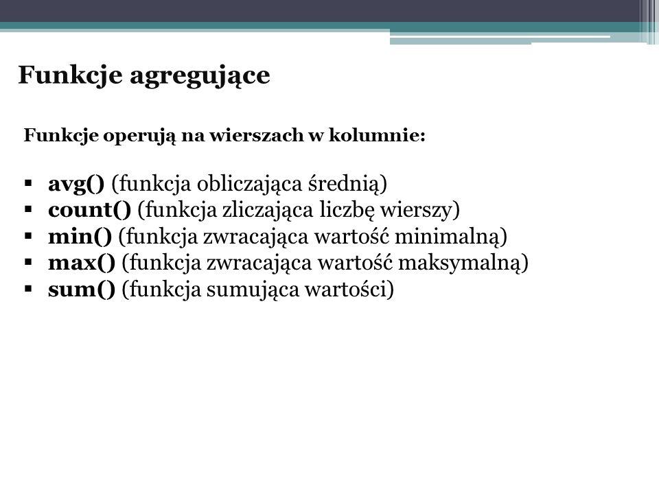 Funkcje agregujące avg() (funkcja obliczająca średnią)