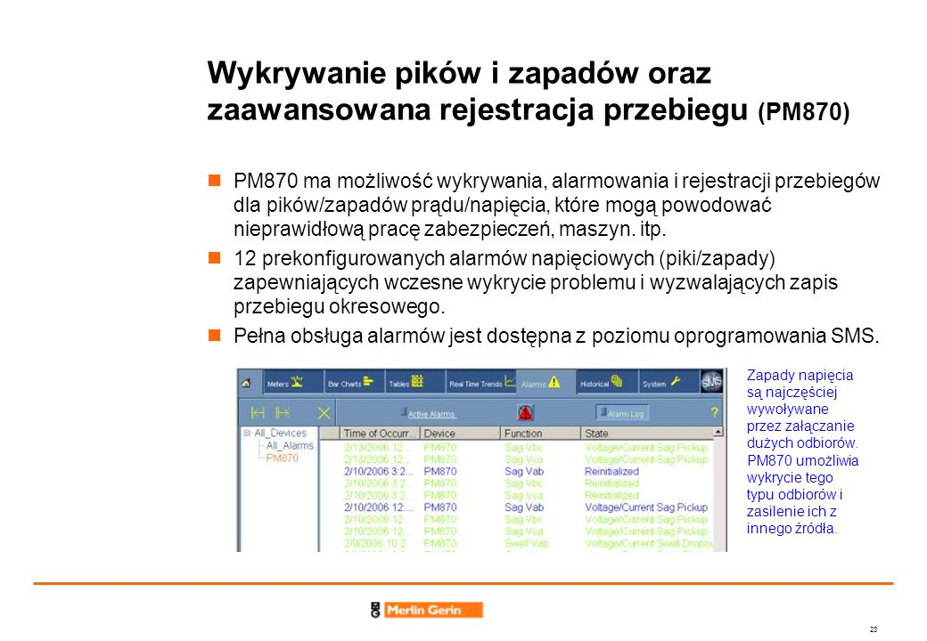 Wykrywanie pików i zapadów oraz zaawansowana rejestracja przebiegu (PM870)