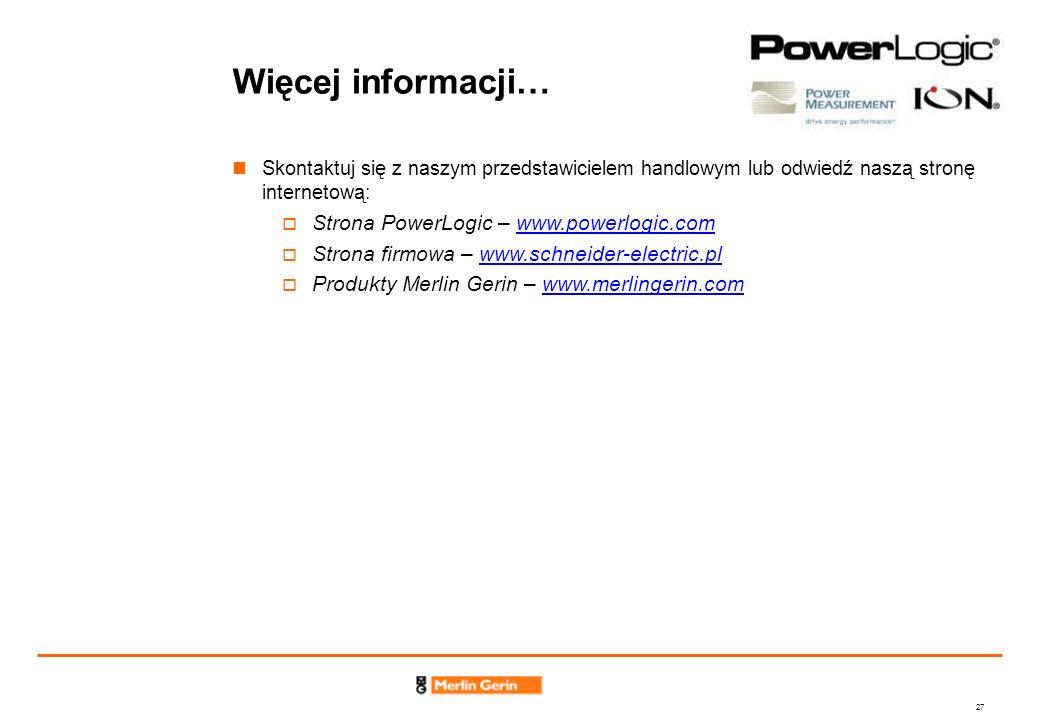 Więcej informacji… Strona PowerLogic – www.powerlogic.com