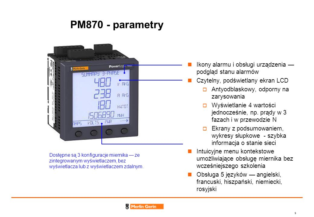 PM870 - parametry Ikony alarmu i obsługi urządzenia — podgląd stanu alarmów. Czytelny, podświetlany ekran LCD.