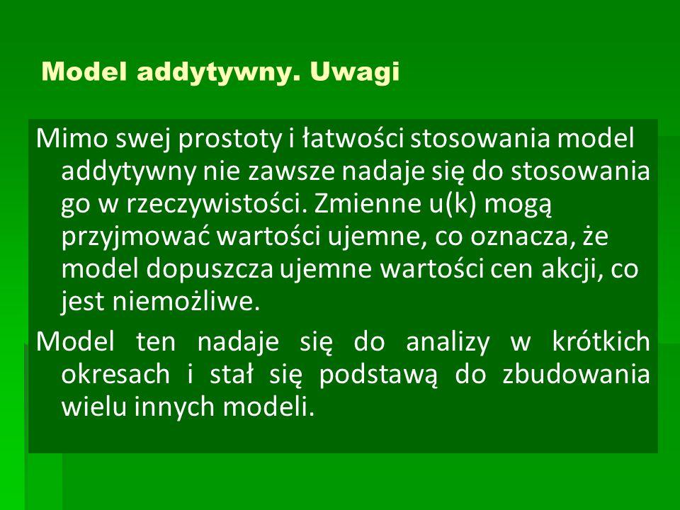 Model addytywny. Uwagi