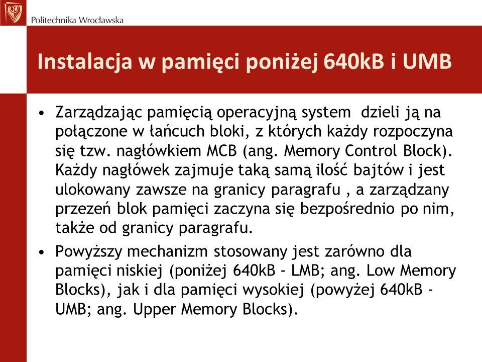 Instalacja w pamięci poniżej 640kB i UMB