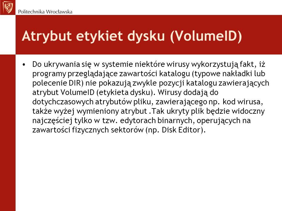 Atrybut etykiet dysku (VolumeID)