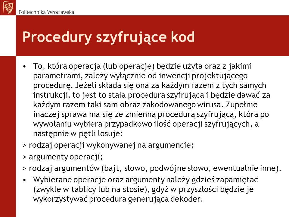 Procedury szyfrujące kod