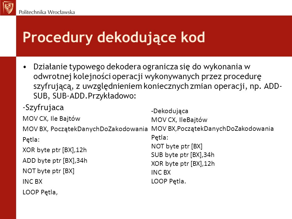 Procedury dekodujące kod
