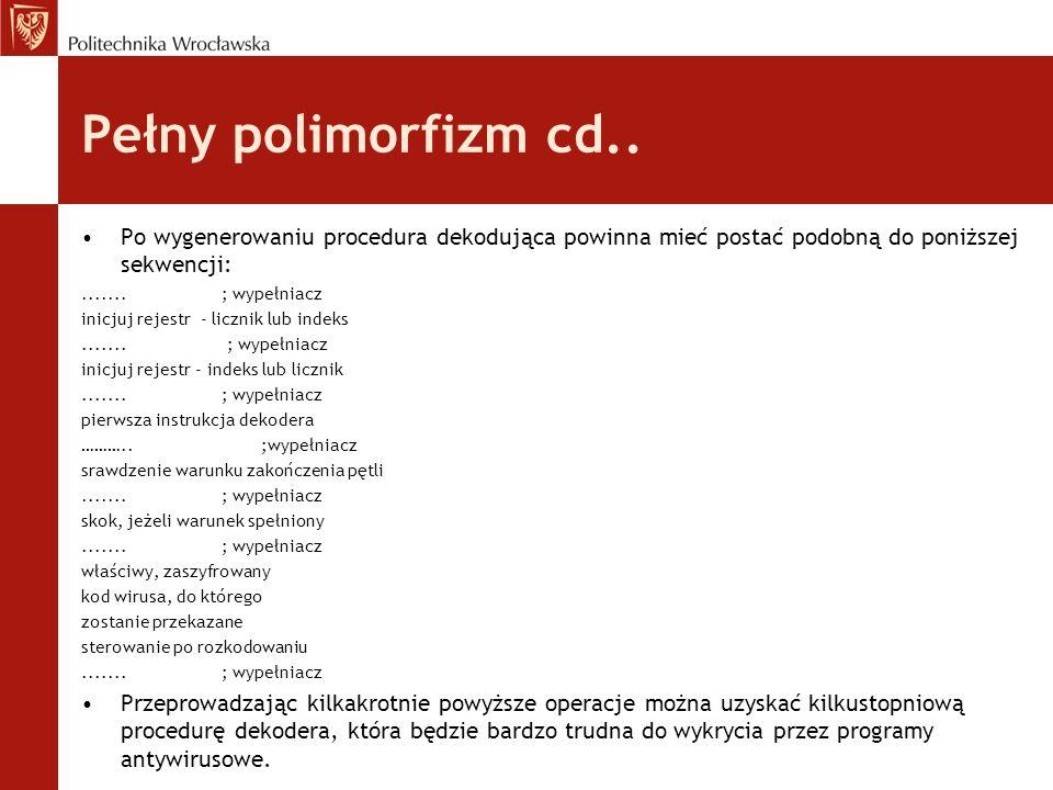 Pełny polimorfizm cd.. Po wygenerowaniu procedura dekodująca powinna mieć postać podobną do poniższej sekwencji: