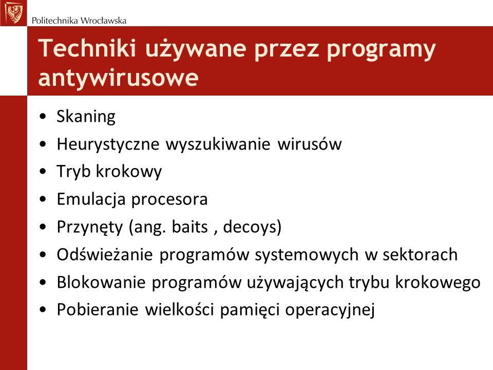 Techniki używane przez programy antywirusowe
