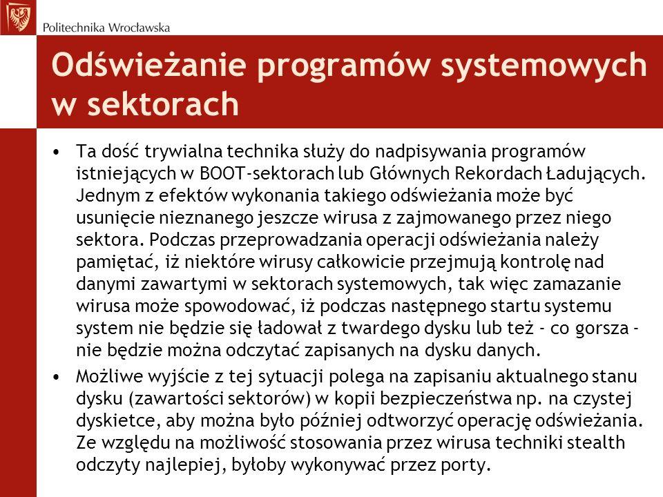 Odświeżanie programów systemowych w sektorach