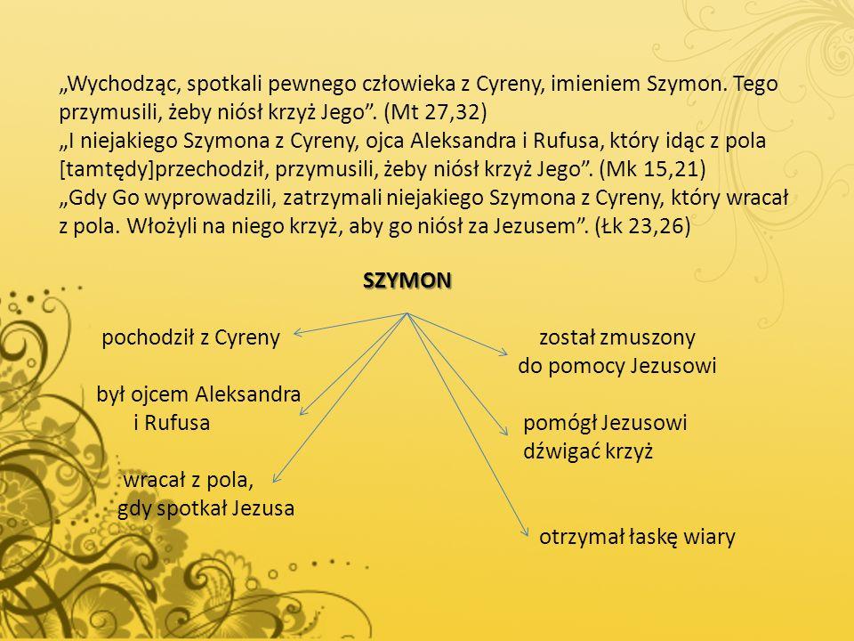 """""""Wychodząc, spotkali pewnego człowieka z Cyreny, imieniem Szymon"""