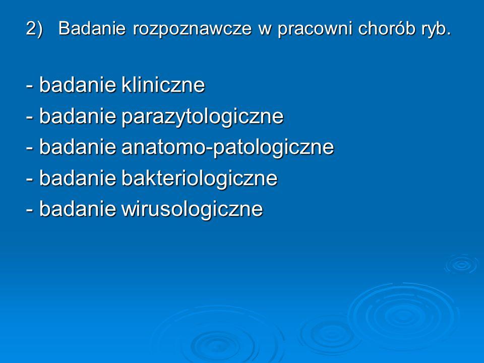- badanie parazytologiczne - badanie anatomo-patologiczne