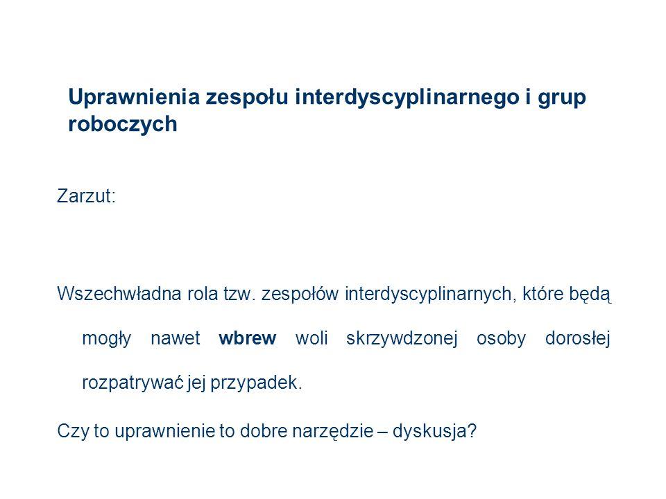 Uprawnienia zespołu interdyscyplinarnego i grup roboczych