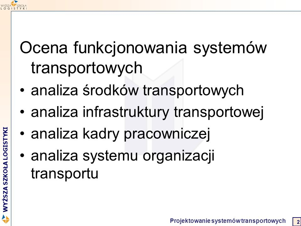 Ocena funkcjonowania systemów transportowych