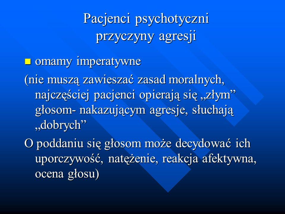 Pacjenci psychotyczni przyczyny agresji