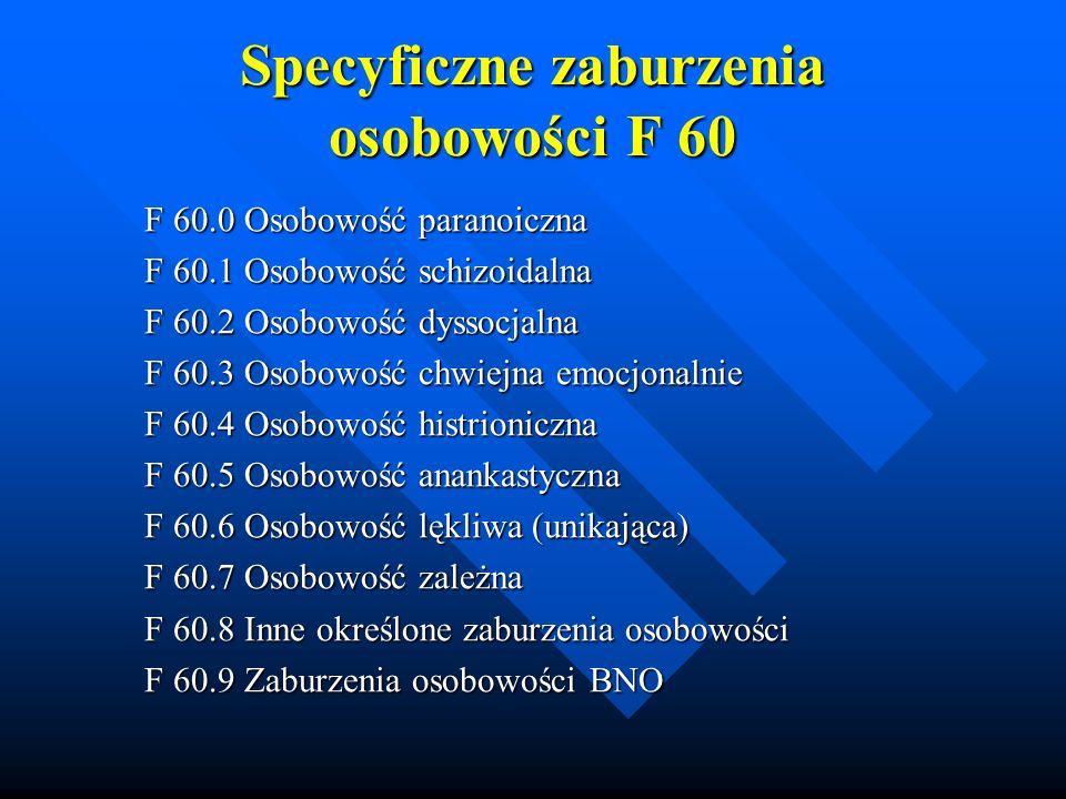 Specyficzne zaburzenia osobowości F 60