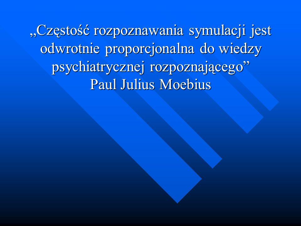 """""""Częstość rozpoznawania symulacji jest odwrotnie proporcjonalna do wiedzy psychiatrycznej rozpoznającego Paul Julius Moebius"""