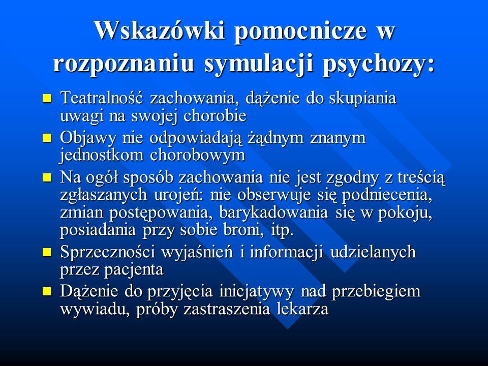 Wskazówki pomocnicze w rozpoznaniu symulacji psychozy: