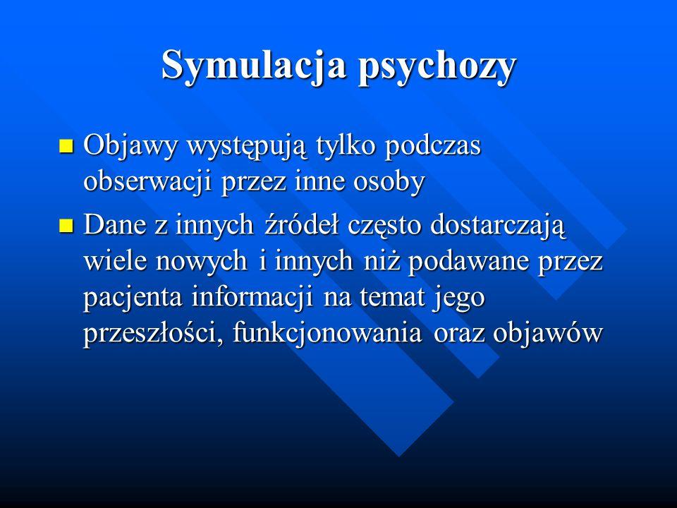 Symulacja psychozy Objawy występują tylko podczas obserwacji przez inne osoby.
