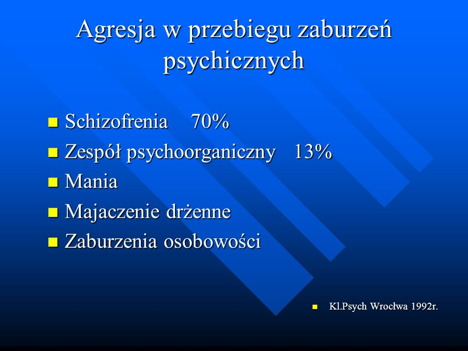 Agresja w przebiegu zaburzeń psychicznych