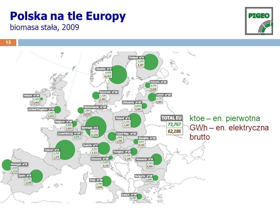 Polska na tle Europy biomasa stała, 2009