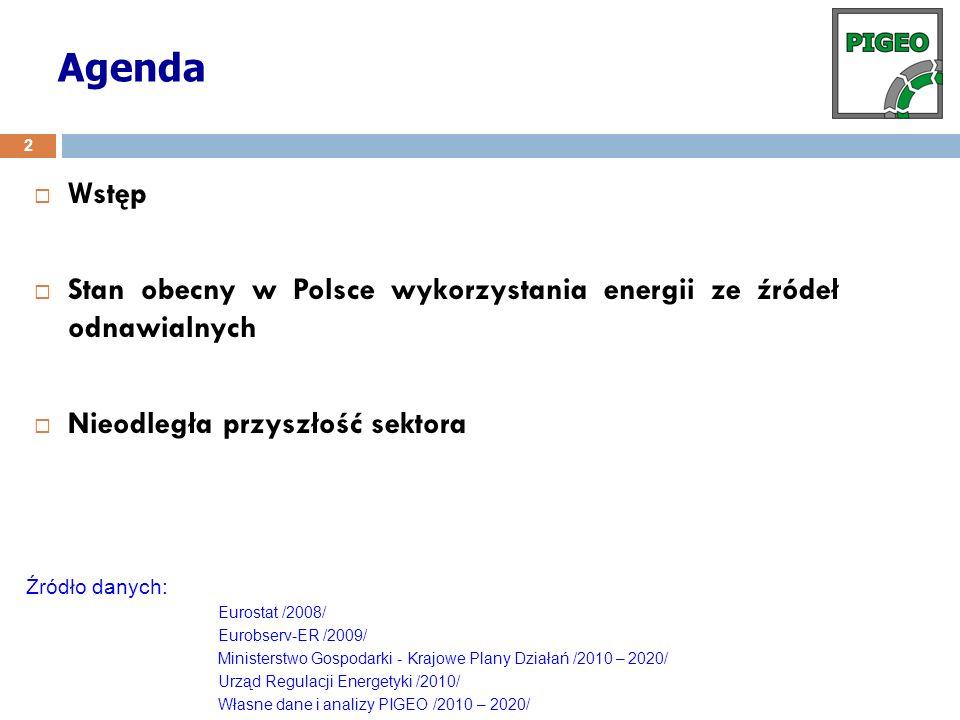 Agenda Wstęp. Stan obecny w Polsce wykorzystania energii ze źródeł odnawialnych. Nieodległa przyszłość sektora.