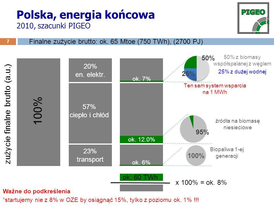 Polska, energia końcowa 2010, szacunki PIGEO