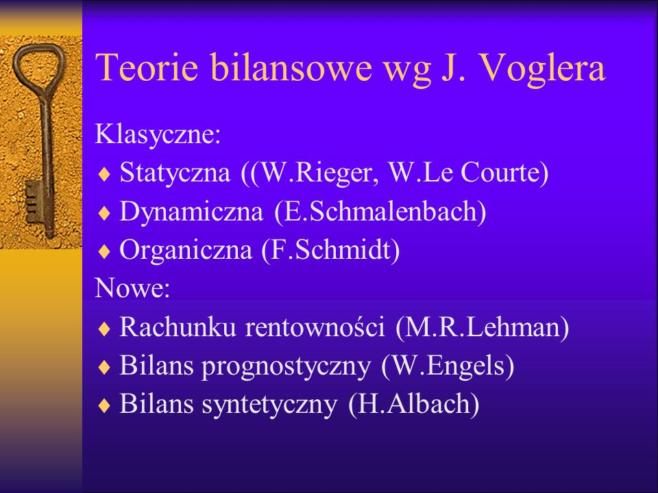 Teorie bilansowe wg J. Voglera
