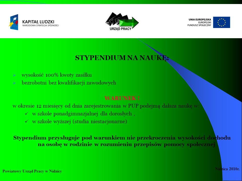 STYPENDIUM NA NAUKĘ: wysokość 100% kwoty zasiłku