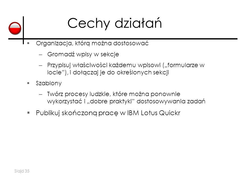 Cechy działań Publikuj skończoną pracę w IBM Lotus Quickr