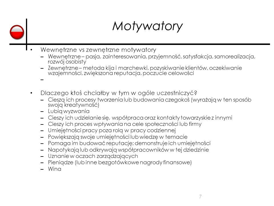 Motywatory Wewnętrzne vs zewnętrzne motywatory