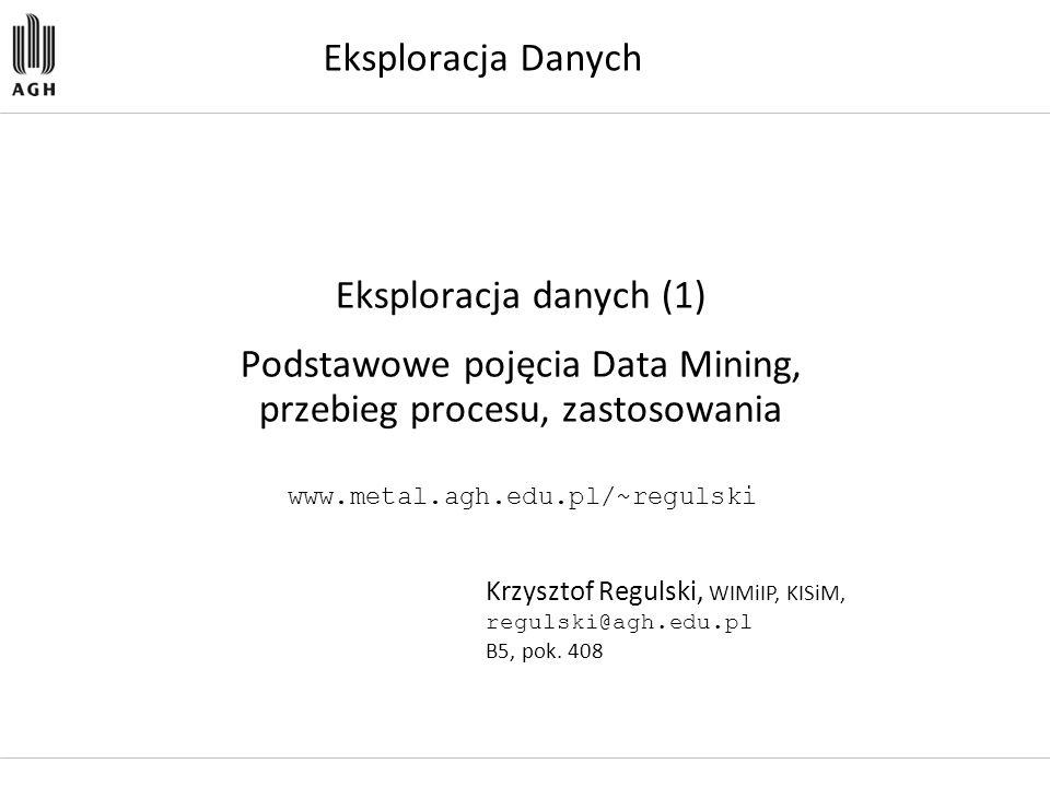 Podstawowe pojęcia Data Mining, przebieg procesu, zastosowania