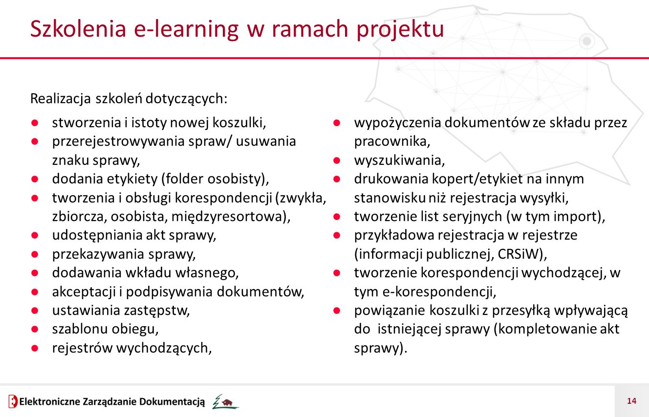 Szkolenia e-learning w ramach projektu