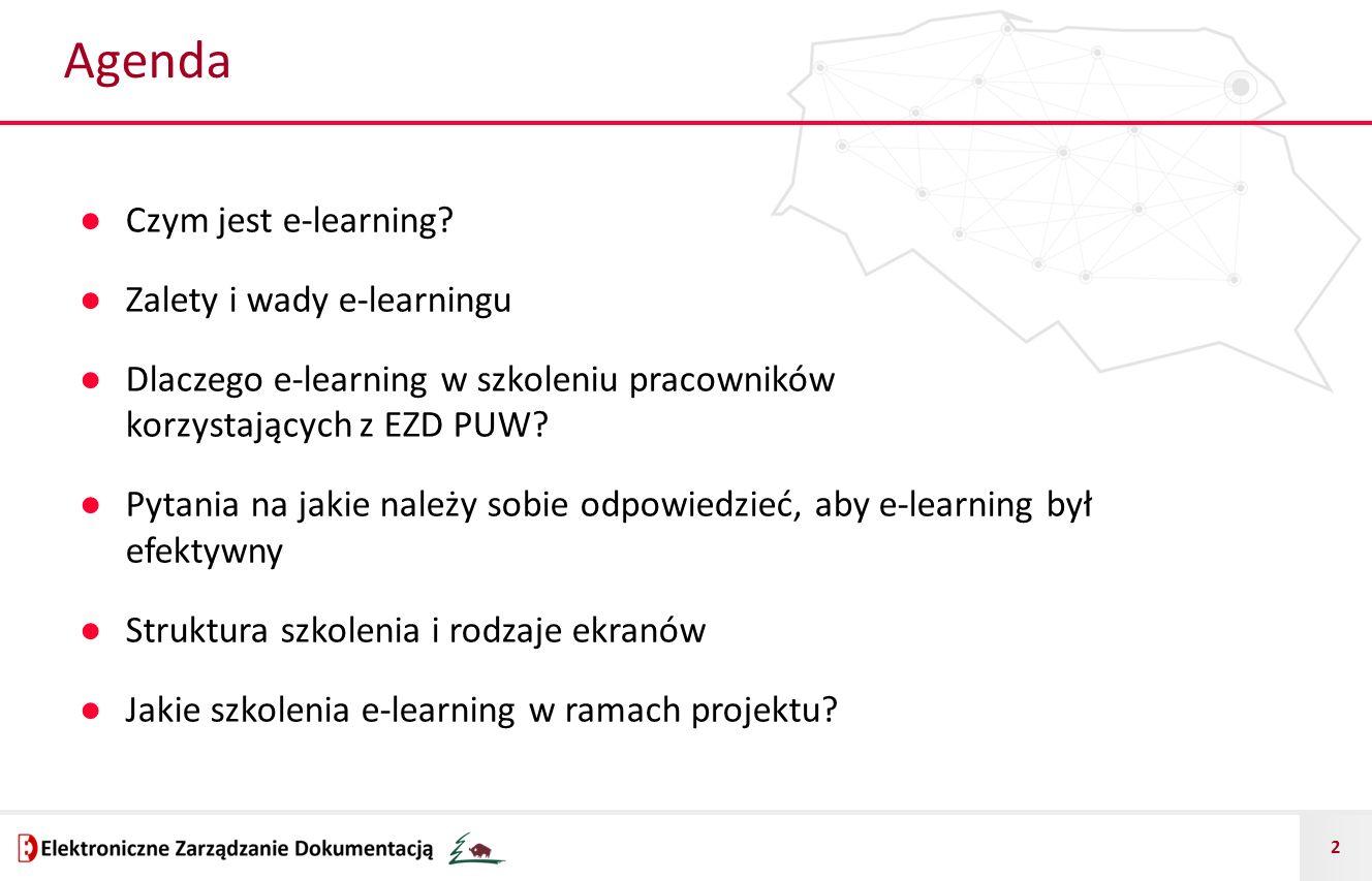 Agenda Czym jest e-learning Zalety i wady e-learningu