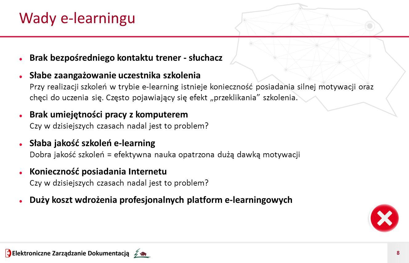Wady e-learningu Brak bezpośredniego kontaktu trener - słuchacz