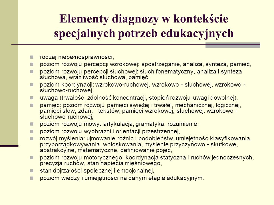 Elementy diagnozy w kontekście specjalnych potrzeb edukacyjnych