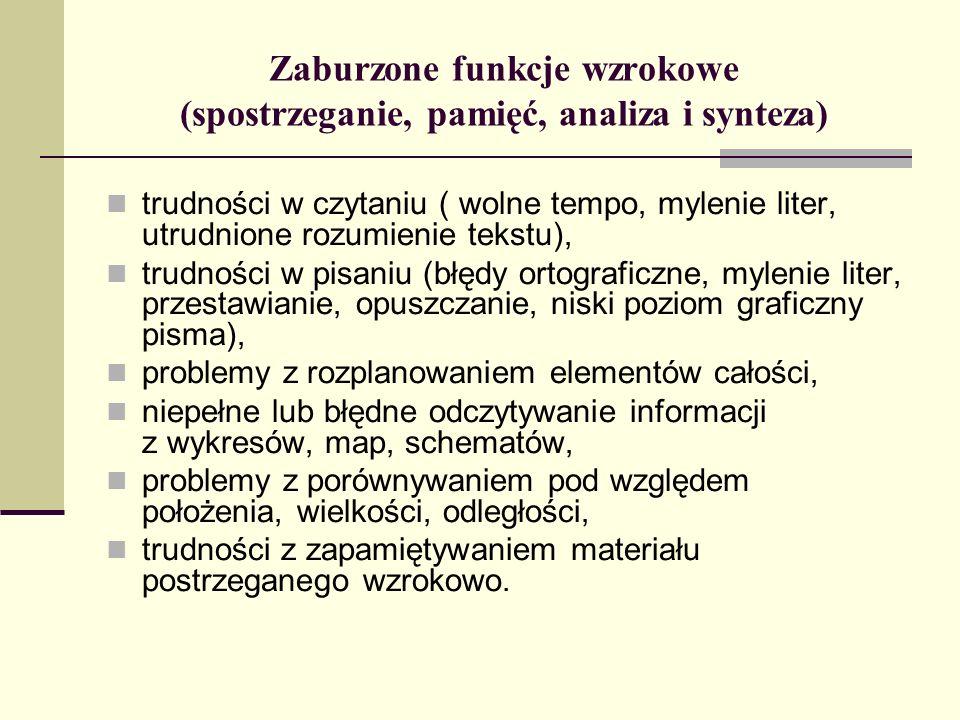 Zaburzone funkcje wzrokowe (spostrzeganie, pamięć, analiza i synteza)