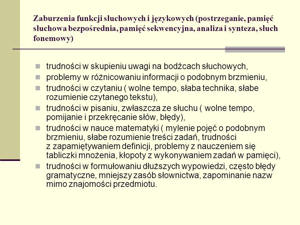 Zaburzenia funkcji słuchowych i językowych (postrzeganie, pamięć słuchowa bezpośrednia, pamięć sekwencyjna, analiza i synteza, słuch fonemowy)