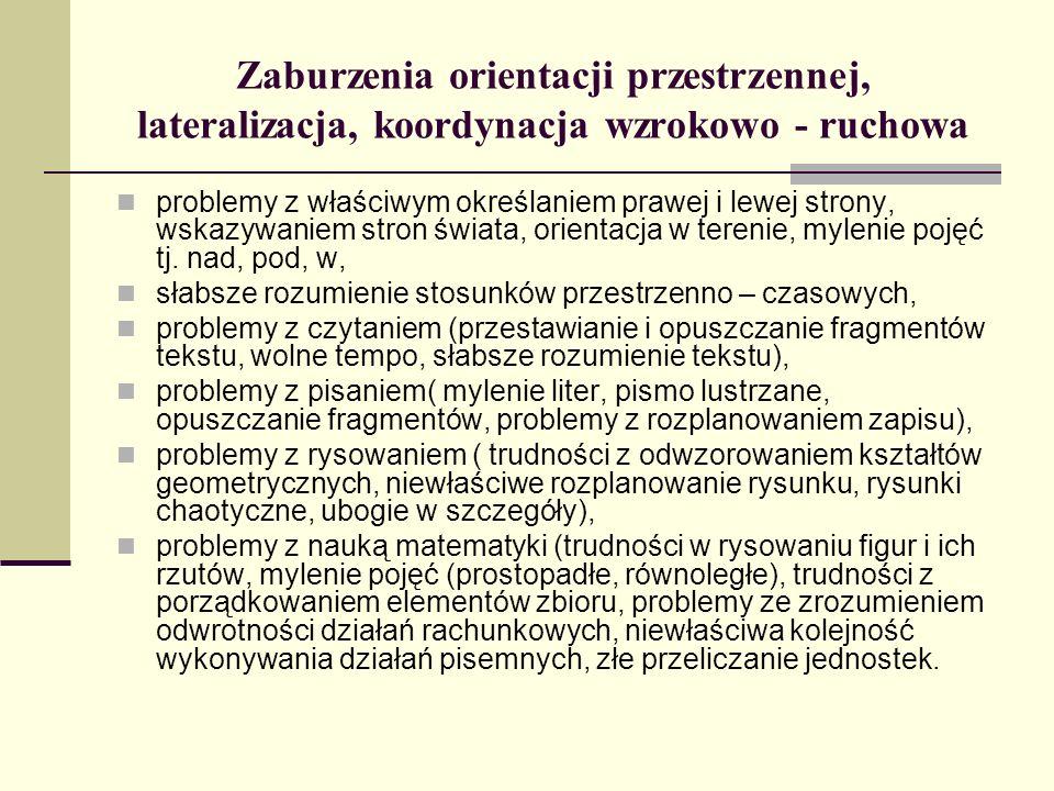 Zaburzenia orientacji przestrzennej, lateralizacja, koordynacja wzrokowo - ruchowa