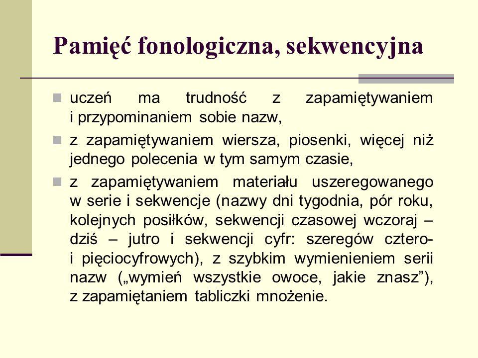 Pamięć fonologiczna, sekwencyjna