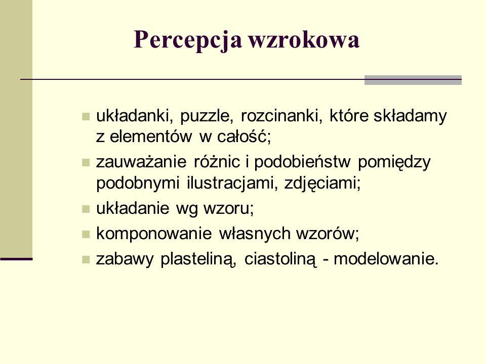 Percepcja wzrokowa układanki, puzzle, rozcinanki, które składamy z elementów w całość;