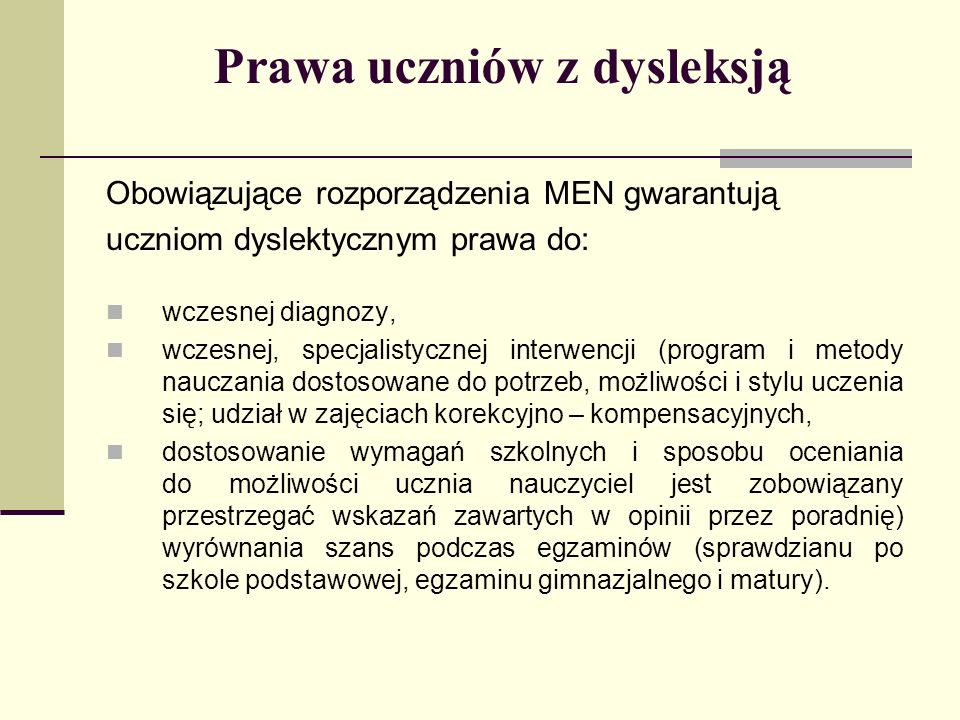 Prawa uczniów z dysleksją