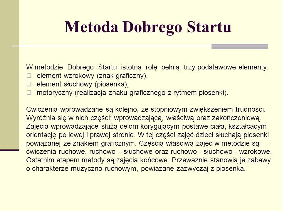 Metoda Dobrego Startu W metodzie Dobrego Startu istotną rolę pełnią trzy podstawowe elementy: