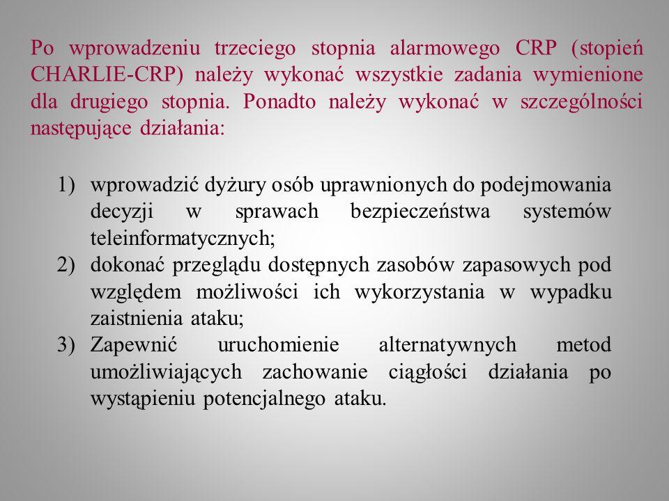 Po wprowadzeniu trzeciego stopnia alarmowego CRP (stopień CHARLIE-CRP) należy wykonać wszystkie zadania wymienione dla drugiego stopnia. Ponadto należy wykonać w szczególności następujące działania: