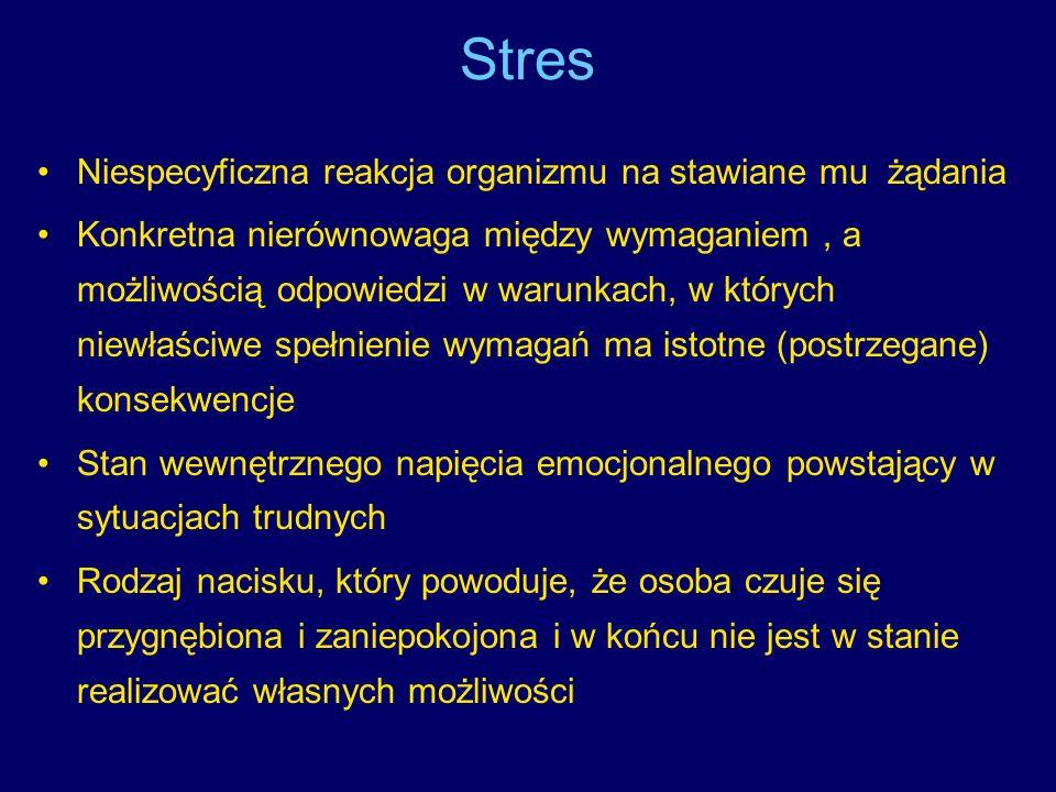Stres Niespecyficzna reakcja organizmu na stawiane mu żądania