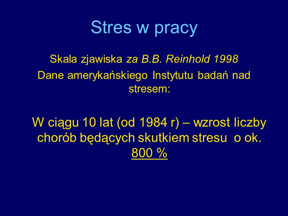 Stres w pracySkala zjawiska za B.B. Reinhold 1998. Dane amerykańskiego Instytutu badań nad stresem: