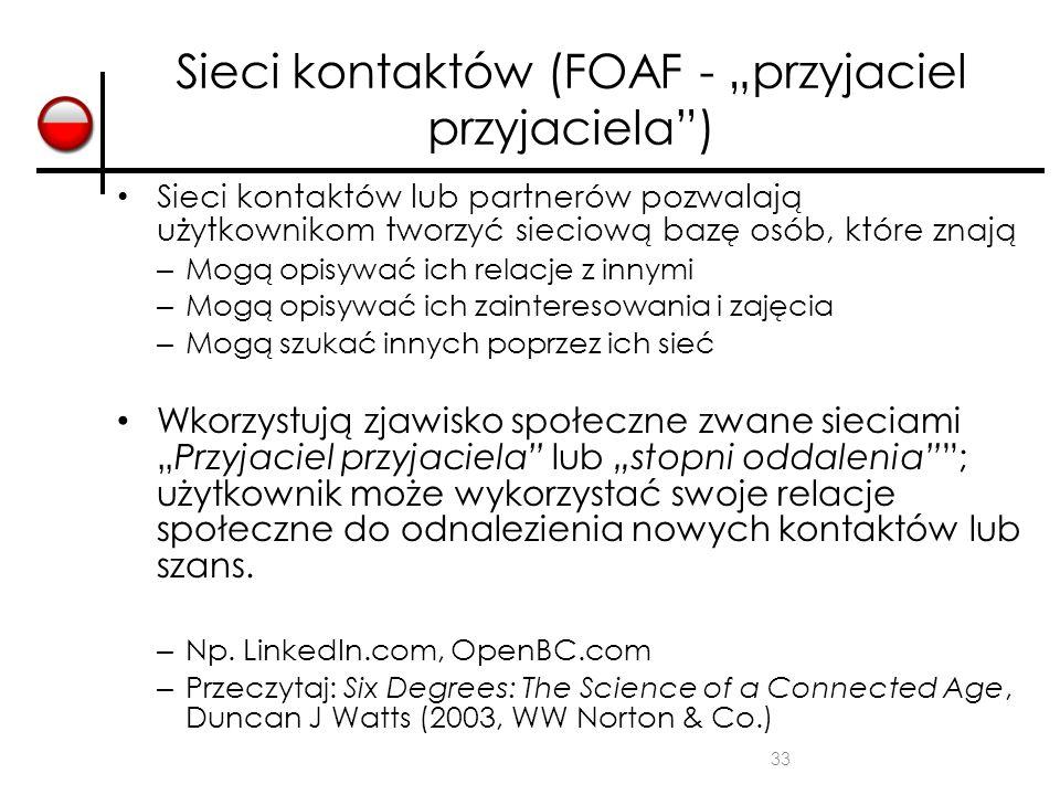 """Sieci kontaktów (FOAF - """"przyjaciel przyjaciela )"""