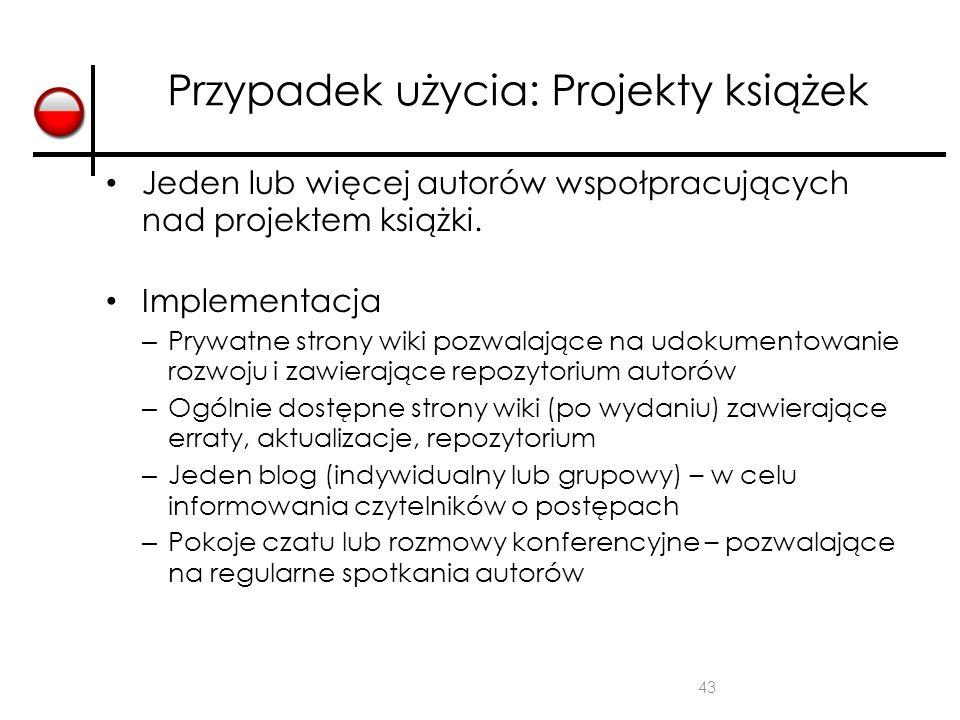 Przypadek użycia: Projekty książek