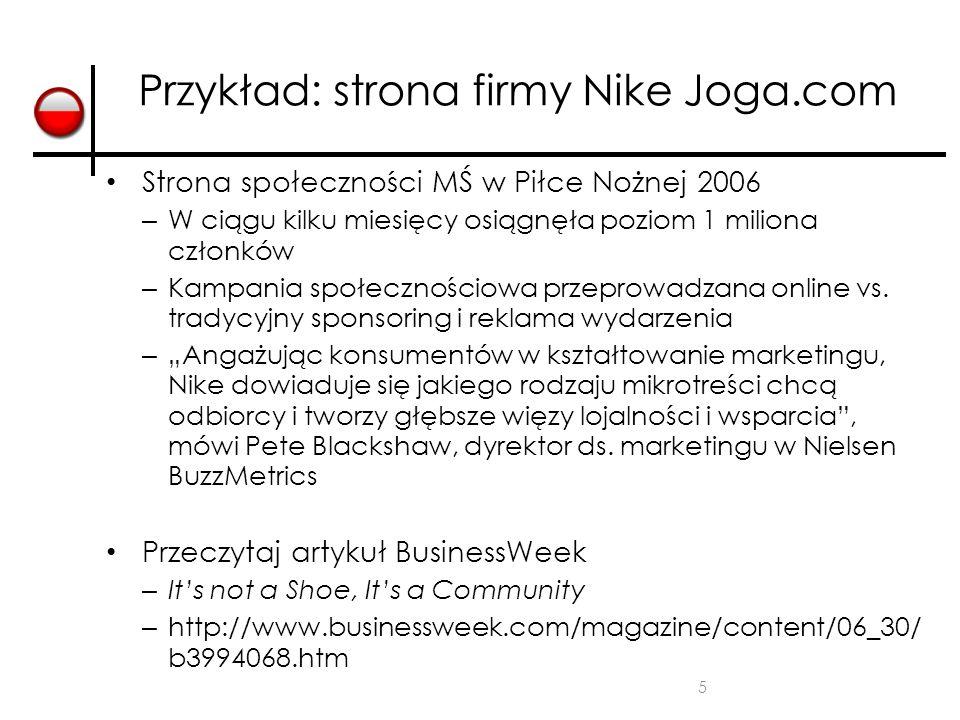 Przykład: strona firmy Nike Joga.com