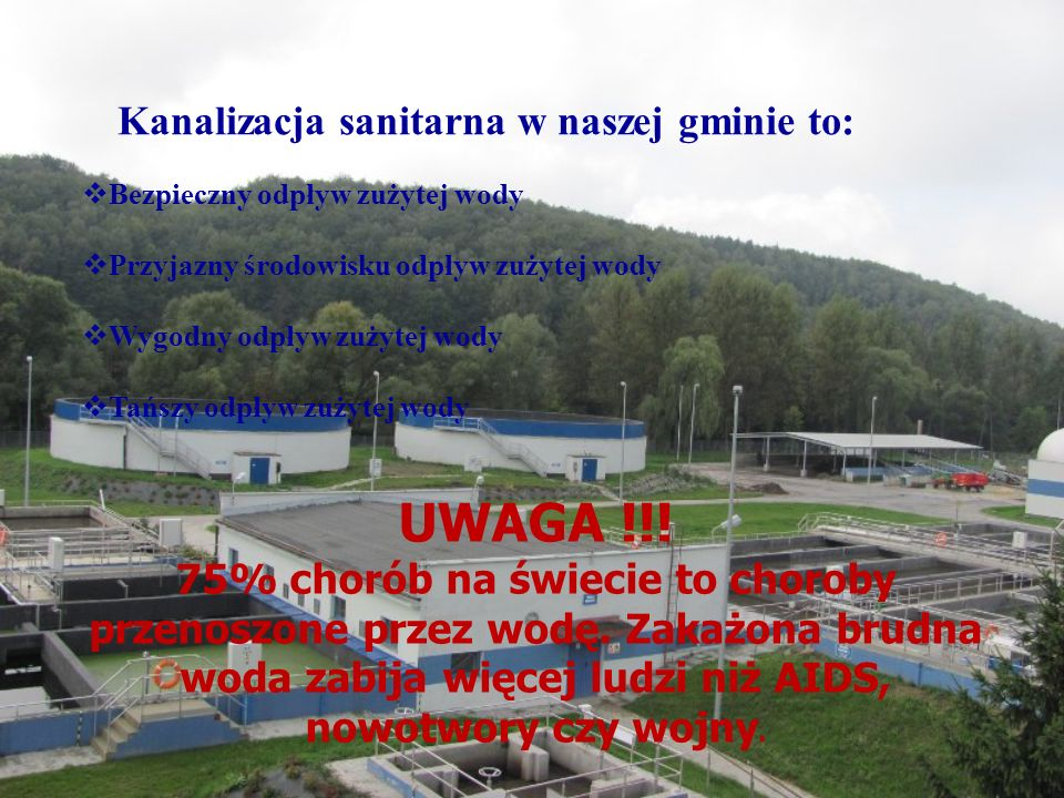 Kanalizacja sanitarna w naszej gminie to: