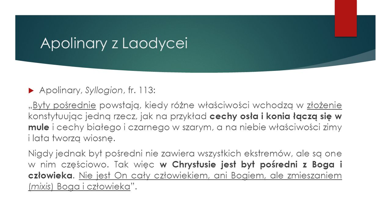 Apolinary z Laodycei Apolinary, Syllogion, fr. 113: